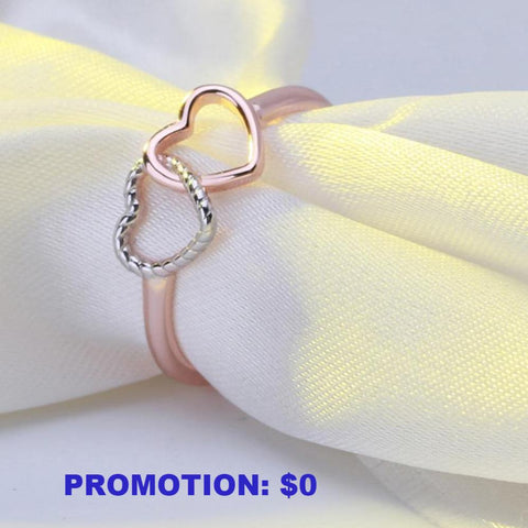 Promotional item: 925 Sterling Silver Double Heart Ring