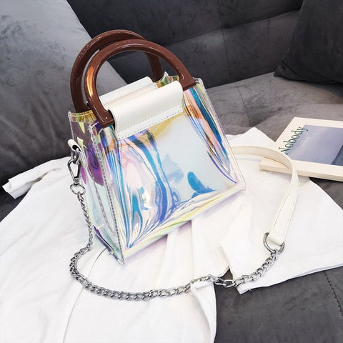 Elegant 2018 Holographic Handbag with Chain