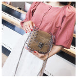 Clear Crossbody Handbag with Woven Purse