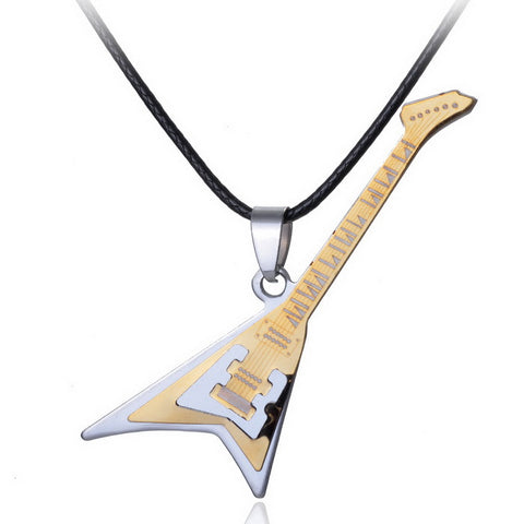 Gold electric guitar pendant