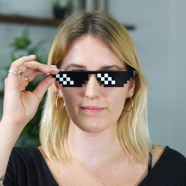 girl wearing deal with it glasses