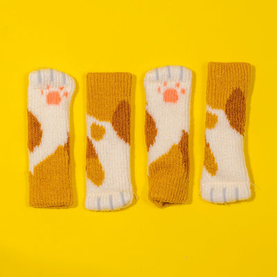 Cat Paw Chair Socks (4 Pack)Orange Spotted