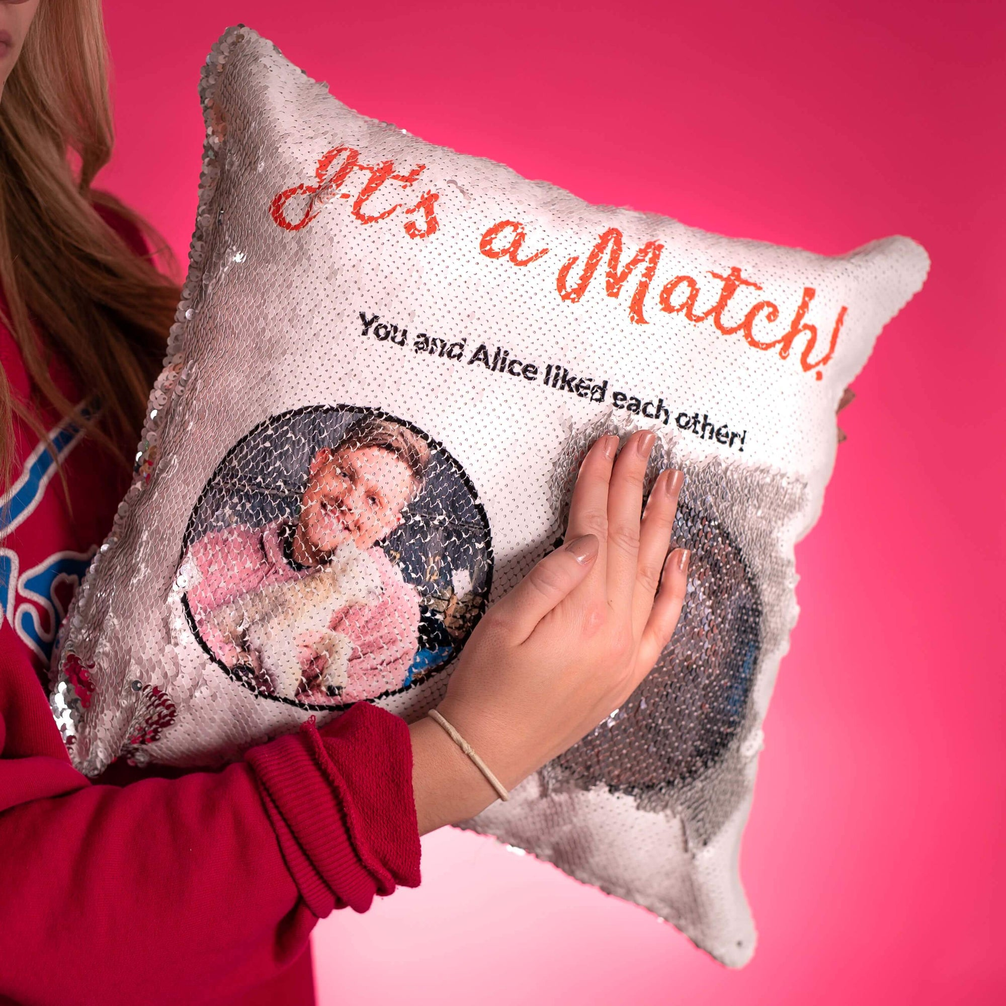 Swipe Right Sequin Pillow Cover