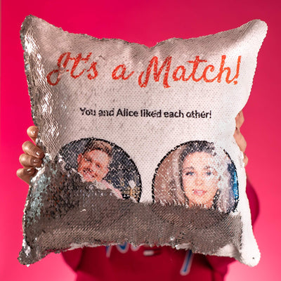 Swipe Right Sequin Cushion Cover