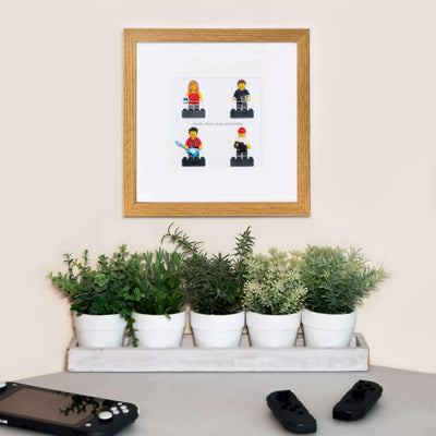 Plastic People - Personalised Mini Brick Figure in Frame4 Figures