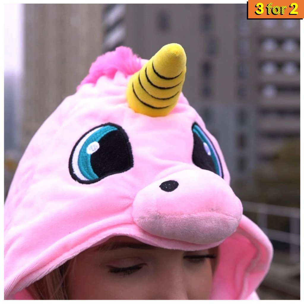Hooded Unicorn Travel Pillow
