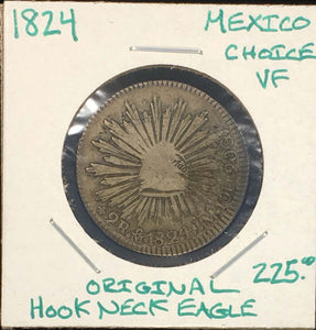1824 Mo Mexico 2 Reales Rare Hook Necked Eagle Choice Original Very Fine