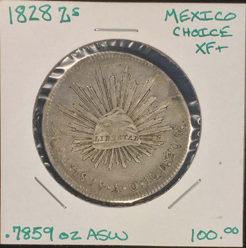 1828 Zs Zacatecas Mexico 8 Reales Cap And Rays Lovely Original Piece