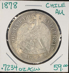 1878 Chile Peso AU Quality