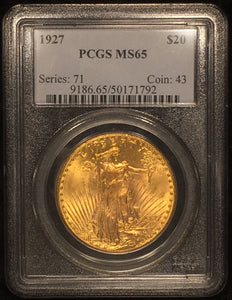 1927 St. Gaudens $20 Double Eagle PCGS MS-65 GEM QUALITY PIECE TOTALLY ORIGINAL ATTRACTIVE EXAMPLE