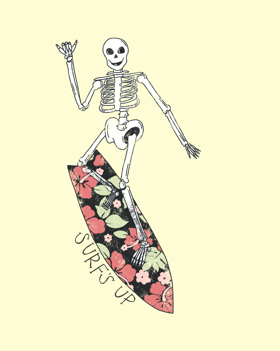 SURFING SKELETON PRINT