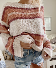 Load image into Gallery viewer, STRIPED POPCORN SWEATER - Olive Lynn