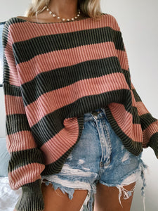 BRICK & CHARCOAL STRIPED SWEATER