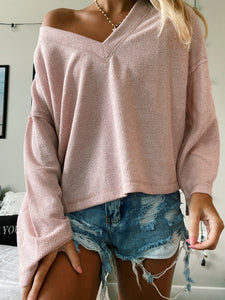 BABY PINK WAFFLE KNIT TOP
