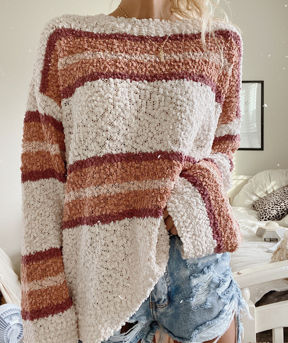 STRIPED POPCORN SWEATER - Olive Lynn