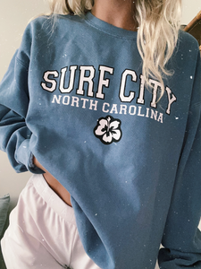 BLUE SURF CITY CREWNECK - Olive Lynn