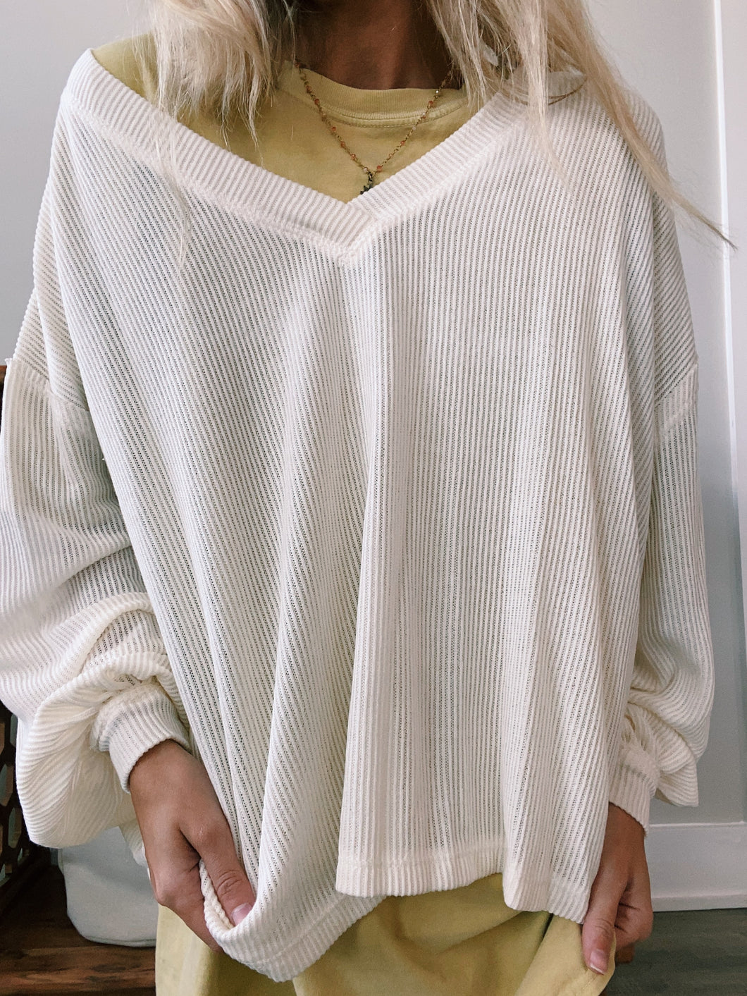 CREAM RIBBED SWEATER - Olive Lynn