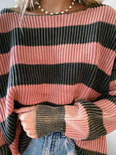 Load image into Gallery viewer, BRICK & CHARCOAL STRIPED SWEATER