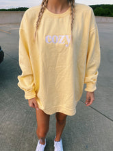 "Load image into Gallery viewer, YELLOW ""COZY"" SWEATSHIRT - Olive Lynn"