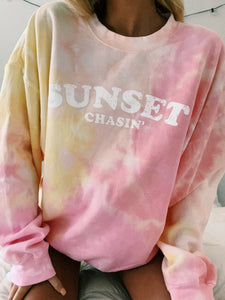 LIMITED EDITION SUNSET CHASIN TIE DYE CREW - Olive Lynn