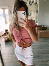Load image into Gallery viewer, RED RUCHED CROP TOP - Olive Lynn