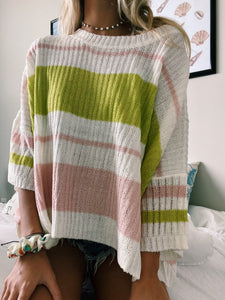 PINK & GREEN STRIPED SWEATER