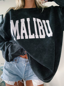 BLACK MALIBU CORDED CREWNECK