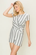 SIDE TIE STRIPE ROMPER