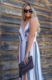 STRIPED HIGH SLIT MAXI