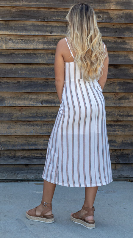 LINEN STRIPED DRESS