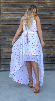 HI-LO HEM NEAPOLITAN DRESS