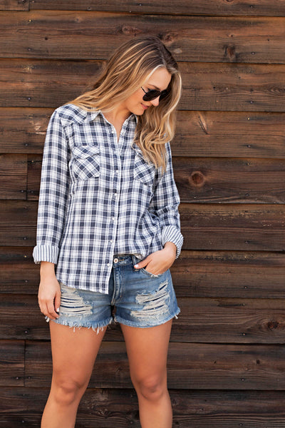 BLEACH WASH PLAID SHIRT