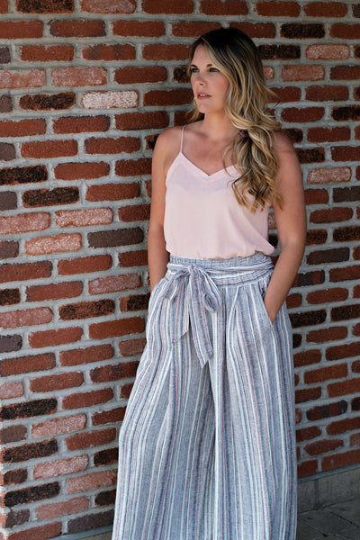 HIGH WAISTED STRIPED PANT WITH BELT