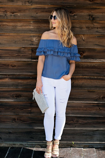 OFF SHOULDER POM POM DETAIL