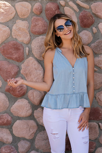 T-BACK RUFFLE HEM BUTTON DOWN TOP