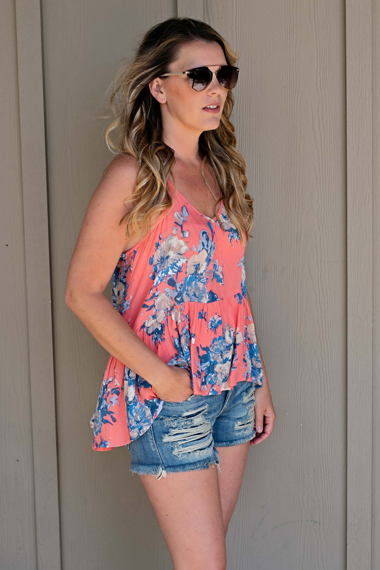 FLORAL HIGH LOW HEM CAMI