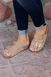 TAN GOLD EMBELLISHED SANDAL