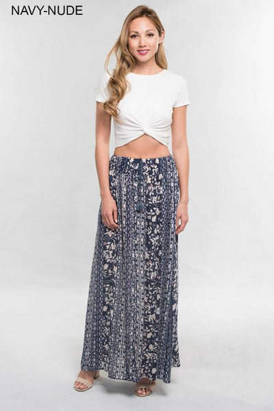 PRINTED SMOCKED WAIST MAXI SKIRT