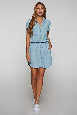 TIE FRONT SHIRT DRESS