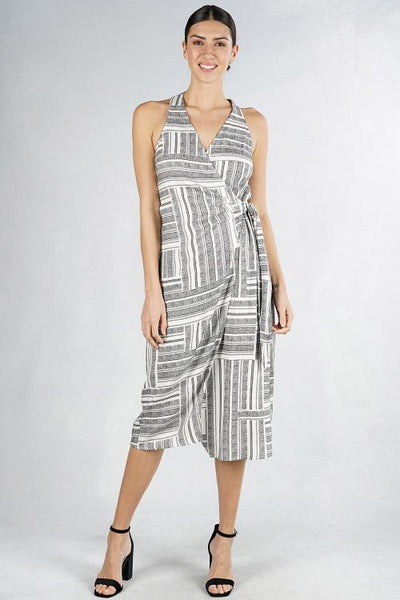 PRINTED RACER BACK WRAP DRESS