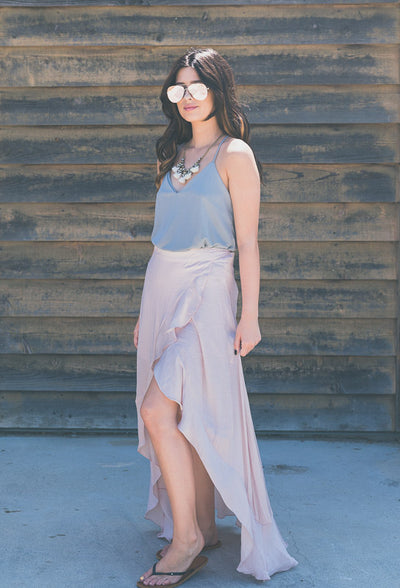 HIGH-LOW RUFFLE MAXI SKIRT