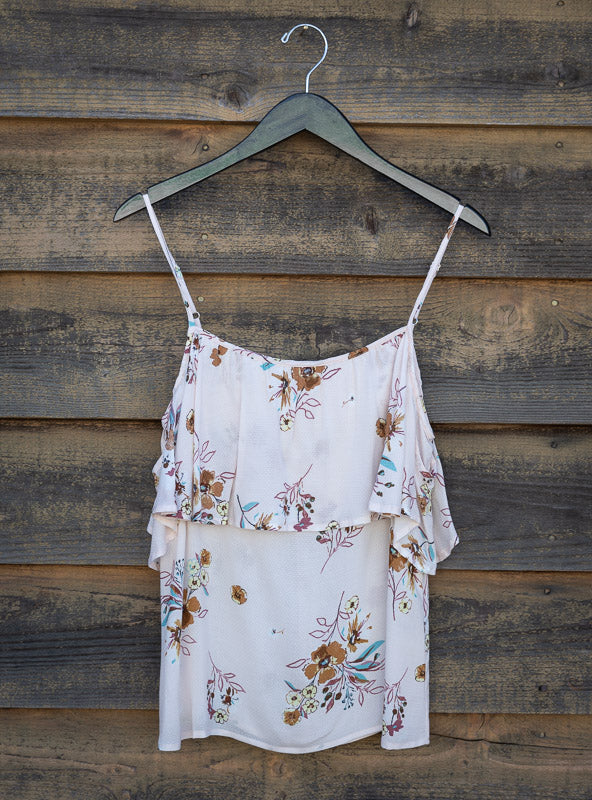 COLD SHOULDER RUFFLE TANK