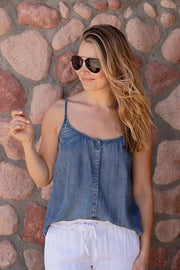 DENIM BUTTON DOWN CAMI