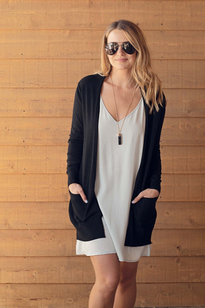 OPEN CARDIGAN w/ POCKETS