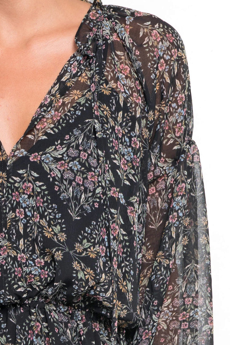 PRINTED FLORAL LONG SLEEVE MAXI