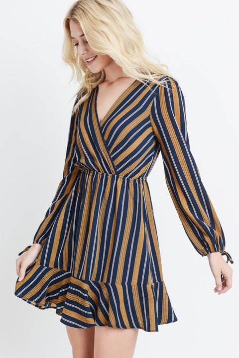 STRIPED RUFFLE HEM DRESS