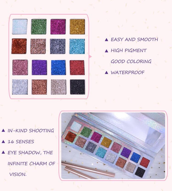 Kinah Glitter Eye Shadow Palette