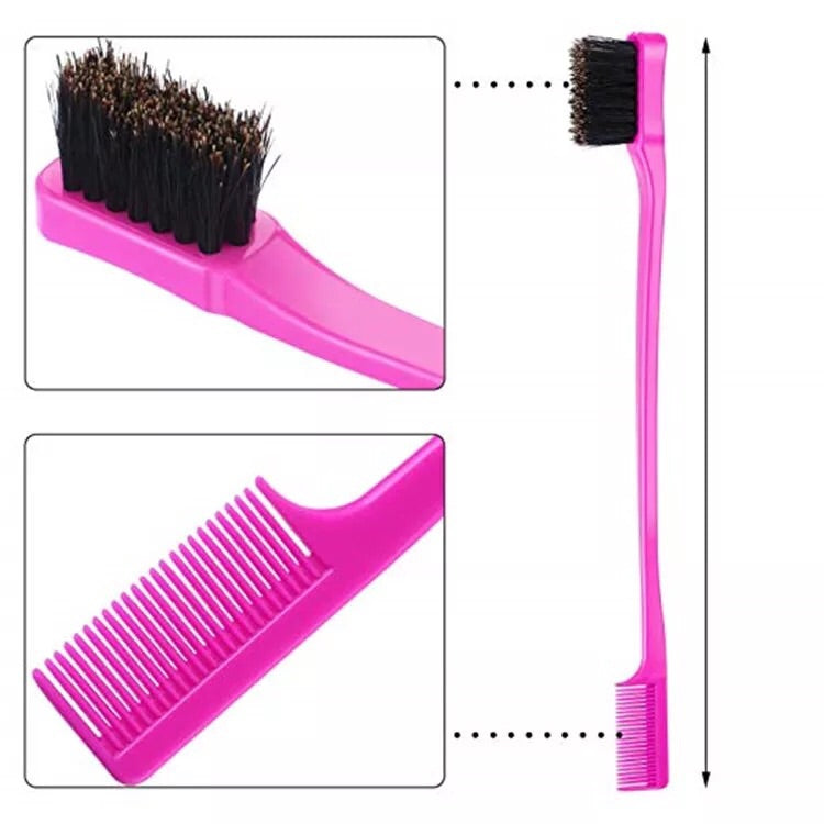 Double Sided plastic handle edge control brush for hair