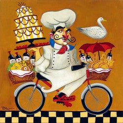 Tim's Cuisine Series, the whimsical Chef on a bicycle doing a balancing act for a party delivery.