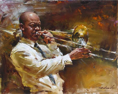 Solid Brass By Andrew - Man playing a brass trombone.